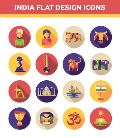 indian animal: Set of vector flat design India travel icons and infographics elements with landmarks and famous Indian symbols