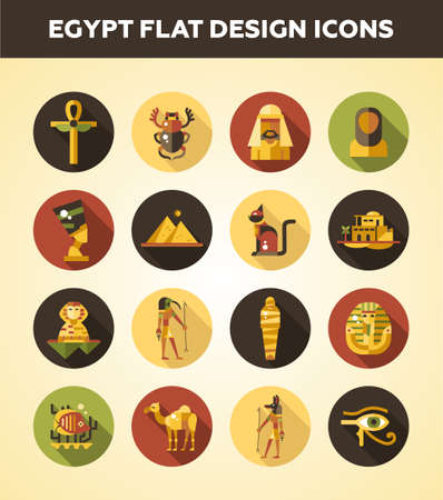 egypt anubis: Set of vector flat design Egypt travel icons and infographics elements with landmarks and famous Egyptian symbols