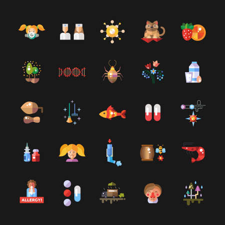 allergen: Set of vector flat design allergy and allergen icons and infographics elements