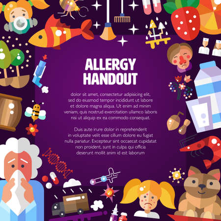 handout: Illustration of vector pattern with flat design allergen icons and infographics elements. Allergy handout.