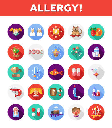 rhinitis: Set of vector flat design allergy and allergen icons and infographics elements