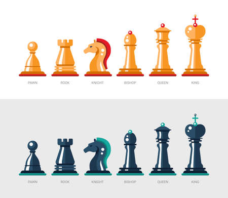 Set of vector flat design isolated named chess icons. Collection of the king, queen, bishop, knight, rook, and pawn Illustration