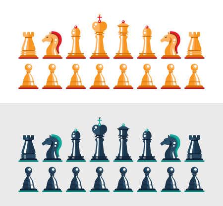 caballo de ajedrez: Conjunto de diseño aislados plana figuras de ajedrez en blanco y negro vector. Colección del rey, reina, alfil, caballo, torre y peón Vectores