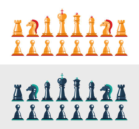 chess knight: Set of vector flat design isolated black and white chess figures. Collection of the king, queen, bishop, knight, rook, and pawn