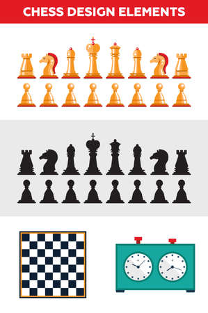 Set of vector flat design isolated black and white chess figures with chessboard and clock. Collection of the king, queen, bishop, knight, rook, and pawn