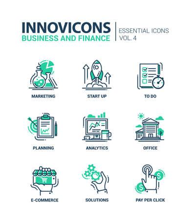 Set van moderne vector kantoor dunne lijn platte design iconen en pictogrammen. Het verzamelen van zakelijke en financiële infographics objecten en web-elementen. Marketing, opstarten, naar de lijst, planning, analyse, kantoor, e-commerce, oplossingen te doen, betalen per klik. Stock Illustratie