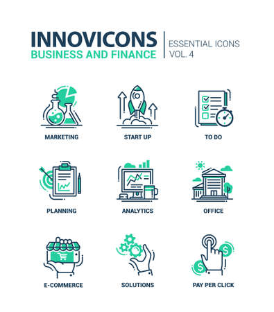 Set of modern vector office thin line flat design icons and pictograms. Collection of business and finance infographics objects and web elements. Marketing, start up, to do list, planning, analytics, office, e-commerce, solutions, pay per click. Illustration