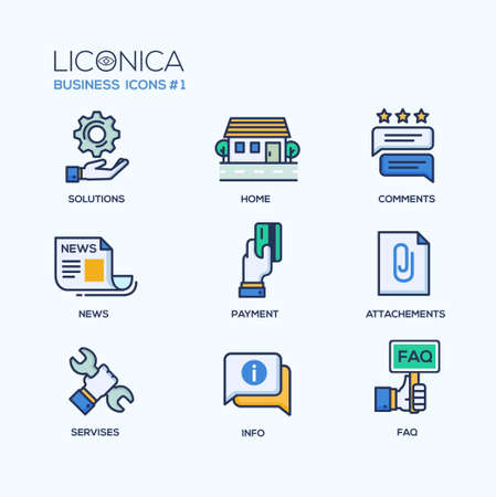design solutions: Set of modern vector office thin line flat design icons and pictograms. Collection of business infographics objects and web elements. Solutions, home, comments, news, payment, attachments, services, infor, faq Illustration