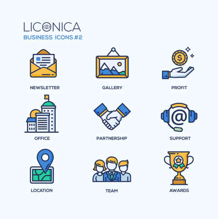Set of modern vector office thin line flat design icons and pictograms. Collection of business infographics objects and web elements. Newsletter, gallery, profit, office, partnership, support, location, team, awards