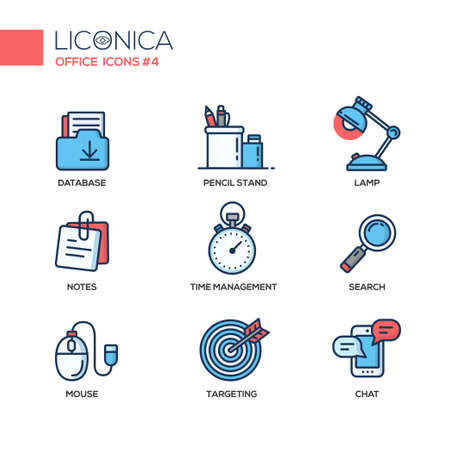 chat icons: Set of modern vector office thin line flat design icons and pictograms. Collection of business infographics objects and web elements. Database, pencil stand, lamp, notes, time management, search, mouse, targeting, chat. Illustration