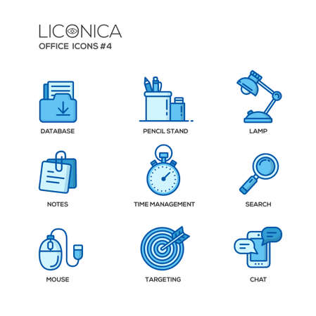 office objects: Set of modern vector office thin line flat design icons and pictograms. Collection of business infographics objects and web elements. Database, pencil stand, lamp, notes, time management, search, mouse, targeting, chat. Illustration