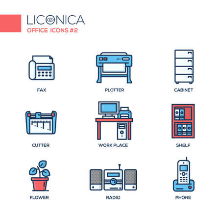 office objects: Set of modern vector office thin line flat design icons and pictograms. Collection of business infographics objects and web elements.
