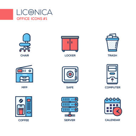 multifunction printer: Set of modern vector office thin line flat design icons and pictograms. Collection of business infographics objects and web elements.