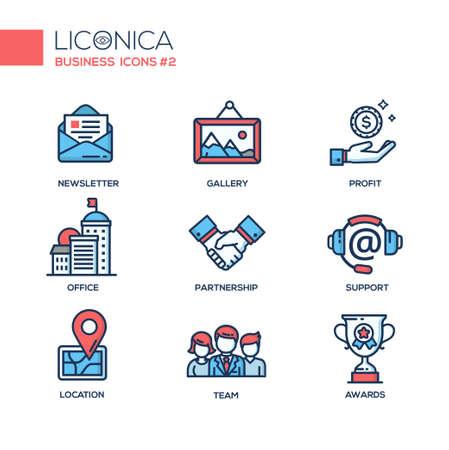 현대 벡터 사무실 얇은 선 평면 디자인 아이콘과 그림 문자의 집합입니다. 비즈니스 인포 그래픽 개체 및 웹 요소의 컬렉션입니다. 뉴스, 갤러리, 이익, 일러스트