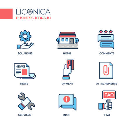 design solutions: Set of modern vector office thin line flat design icons and pictograms. Collection of business infographics objects and web elements. Solutions, home, comments, news, payment, attachments, services, info, faq