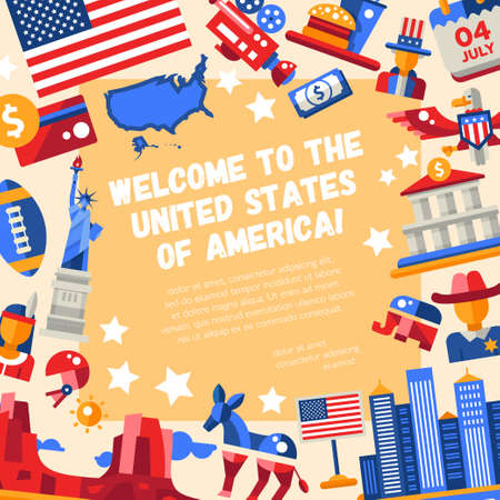 eagle canyon: Illustration of vector flat design USA travel flyer with icons, infographics elements, landmarks and famous American symbols