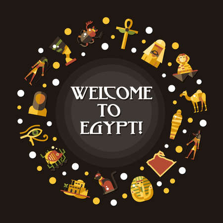 egyptian mummy: Illustration of flat design Egypt travel vector banner with icons, infographics elements, landmarks and famous Egyptian symbols Illustration