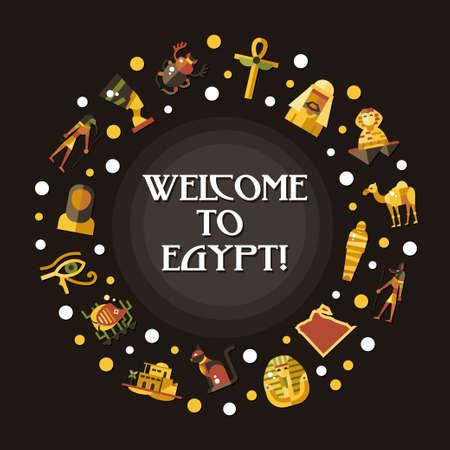 egyptian pharaoh: Illustration of flat design Egypt travel vector banner with icons, infographics elements, landmarks and famous Egyptian symbols Illustration