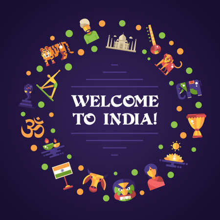 tourists: Illustration of flat design India travel vector banner with icons, infographics elements, landmarks and famous Indian symbols