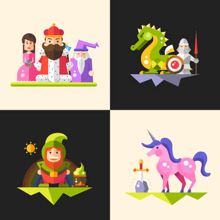 Set of vector compositions with fairy tales flat design magic cartoon personages. King, wizard, princess, dragon, knight, gnome and unicorn.