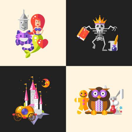 brujas caricatura: Conjunto de composiciones de vectores con los cuentos de hadas de dise�o plana personajes de dibujos animados magia. Esqueleto rey, castillo, luna, carro, b�ho, conejo, gato y sirena. Vectores