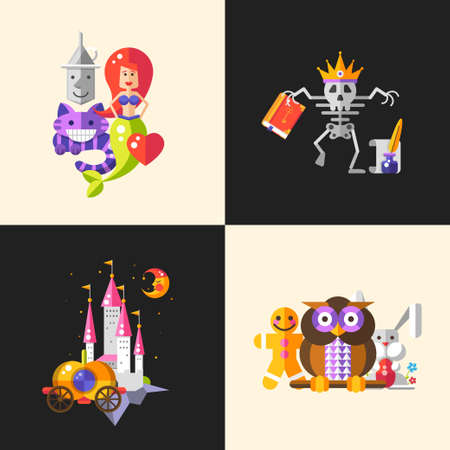 medieval king: Set of vector compositions with fairy tales flat design magic cartoon personages. Skeleton king, castle, moon, carriage, owl, rabbit, cat and mermaid.