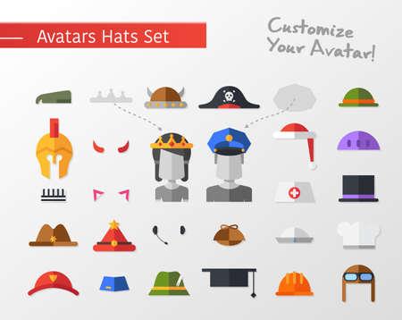 gorra policía: Conjunto de vector aislado diseño plana sombreros y gorras icono de red social avatares