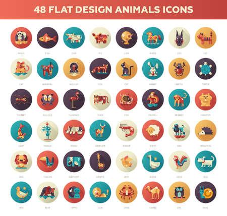 Set of 48 modern vector flat design wild and domestic animals icons set  イラスト・ベクター素材