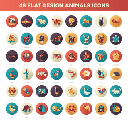 Set of 48 modern vector flat design wild and domestic animals icons set 矢量图像