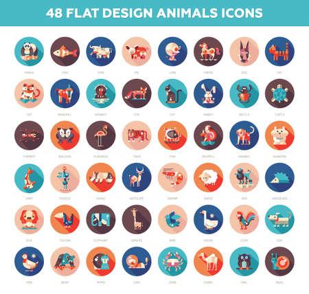 животные: Набор включает 48 современных вектор плоский дизайн диких и домашних животных иконки