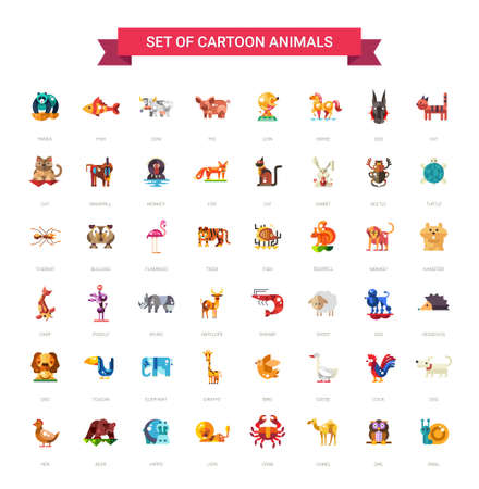 48: Set of 48 modern vector flat design wild and domestic animals icons set Illustration