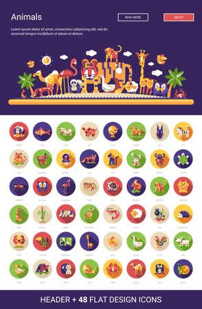 camello: Conjunto de 48 vector moderno diseño plano salvaje y los animales domésticos iconos fijó con una cabecera