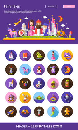 medieval knight: Set of vector compositions with fairy tales flat design magic cartoon characters with a header