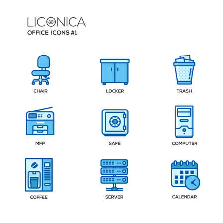 multifunction printer: Set of modern vector office thin line flat design icons and pictograms. Collection of business infographics objects and web elements