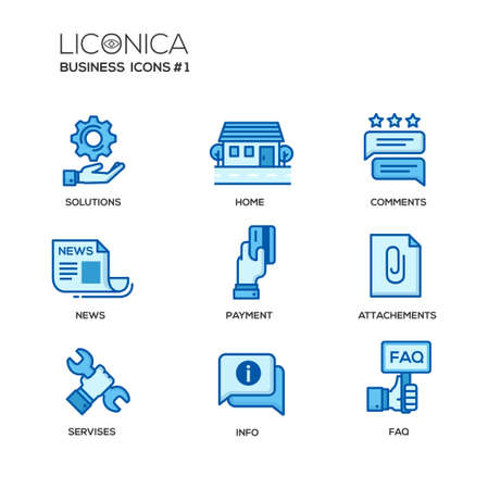 attachments: Set of modern vector office thin line flat design icons and pictograms. Collection of business infographics objects and web elements. Solutions, home, comments, news, payment, attachments, services, info, faq