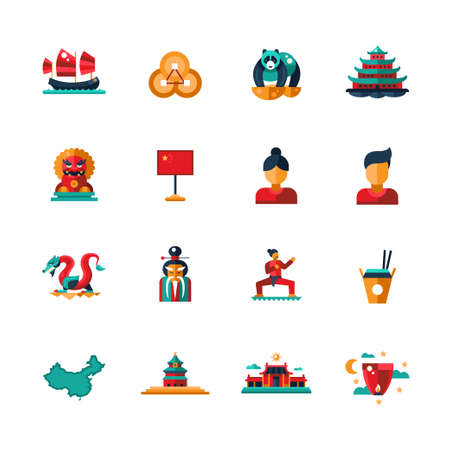 feng shui: Set of vector flat design China travel icons and infographics elements with landmarks and famous Chinese symbols Illustration