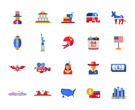 eagle canyon: Set of vector flat design USA travel icons and infographics elements with landmarks and famous American symbols