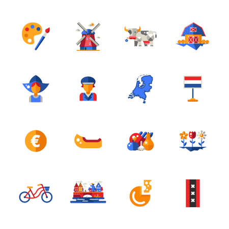Set of vector flat design Holland travel icons and infographics elements with landmarks and famous Dutch symbols