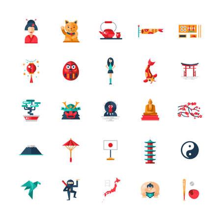 bandera japon: Conjunto de diseño plano vectorial de iconos de Japón y de infografía elementos con puntos de referencia y símbolos japoneses famosos