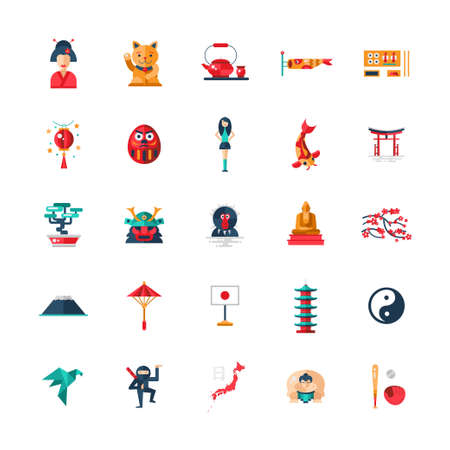 tea house: Set of vector flat design Japan travel icons and infographics elements with landmarks and famous Japanese symbols