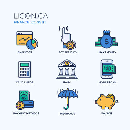 pay money: Set of modern vector office thin line flat design icons and pictograms. Collection of business infographics objects and web elements. Analytics, pay per click, make money, calculator, bank, mobile bank, payment methods, insurance, savings.