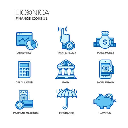 business savings: Set of modern vector office thin line flat design icons and pictograms. Collection of business infographics objects and web elements. Analytics, pay per click, make money, calculator, bank, mobile bank, payment methods, insurance, savings.