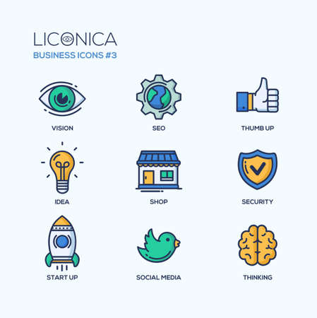 Set of modern vector office thin line flat design icons and pictograms. Collection of business infographics objects and web elements. Vision, SEO, thumb u p, idea, shop, security, start up, social media, thinking. Vettoriali
