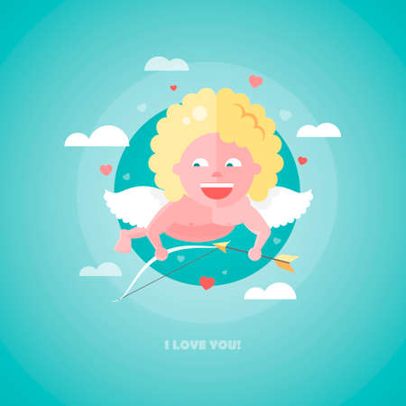 matchmaking: Flat design vector illustration of Valentines day card with a Cupid flying in the sky