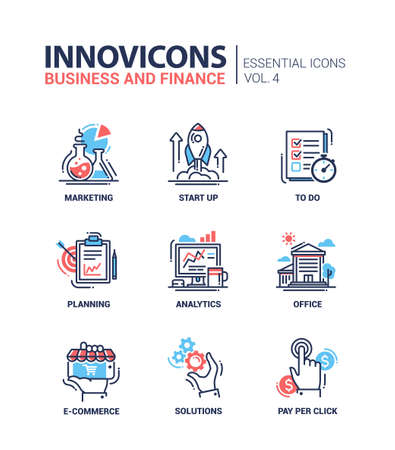 Set of modern vector office thin line flat design icons and pictograms. Collection of business and finance infographics objects and web elements. Marketing, start up, to do list, planning, analytics, office, e-commerce, solutions, pay per click. Stock Illustratie