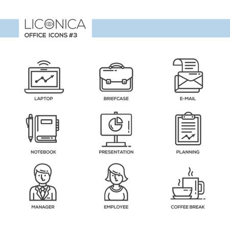 office objects: Set of modern vector office thin line flat design icons and pictograms. Collection of business infographics objects and web elements