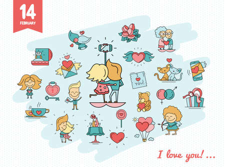 romance: Flat design vector Valentines day love icons and romance elements Illustration
