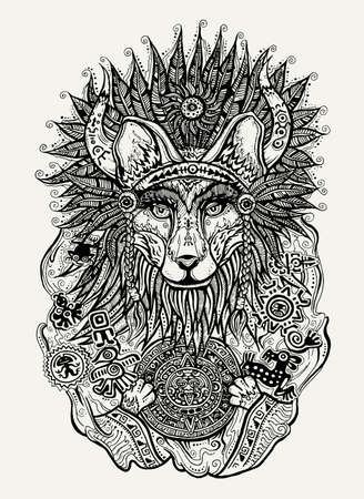 mayan culture: Pen and ink vector print illustration of illustration of Indian fox holding Mayan calendar