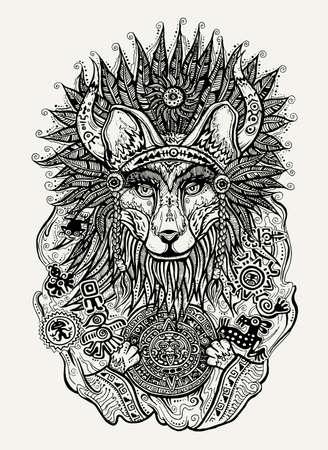 cultura maya: Pluma y tinta ilustración vectorial impresión de ilustración de zorro indio que sostiene calendario maya