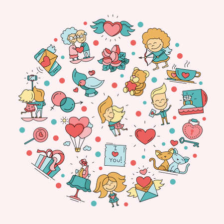 girl happy: Flat design vector Valentines day love and romance icons postcard